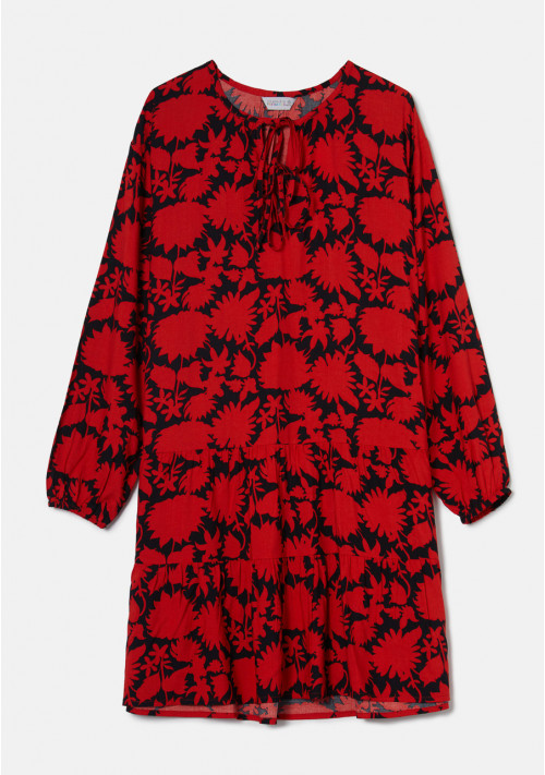 Red and black floral print mini smock dress with tiers - Compañía Fantástica