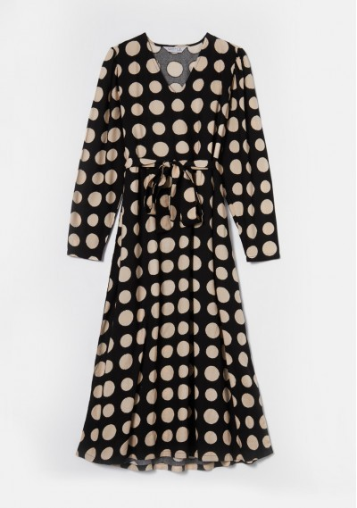 Black and white polka dot print midi dress with belt -  Compañía Fantástica