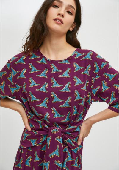 Vestido midi con lazo frontal animal print de dinosaurios -  Compañía Fantástica