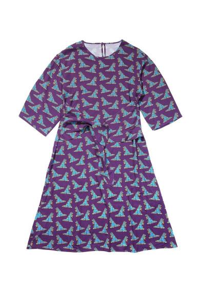 Dinosaur print midi dress with front tie detail -  Compañía Fantástica