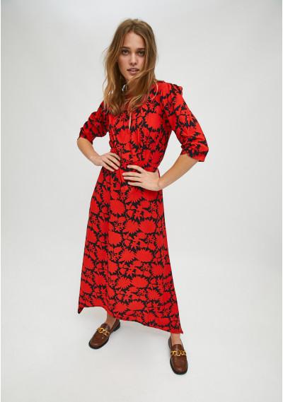 Red and black floral print midi dress with asymmetric hem -  Compañía Fantástica