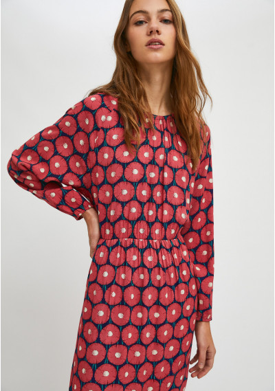 Floral marigold print lightweight midi dress with tiers -  Compañía Fantástica