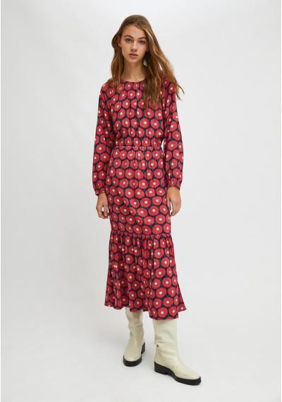 Vestido midi fluido con volante estampado floral de caléndulas -  Compañía Fantástica