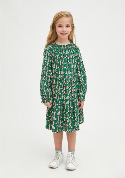 Giraffe print girl's loose-fit dress -  Compañía Fantástica