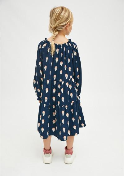 Boiled egg print girl's loose-fit dress -  Compañía Fantástica