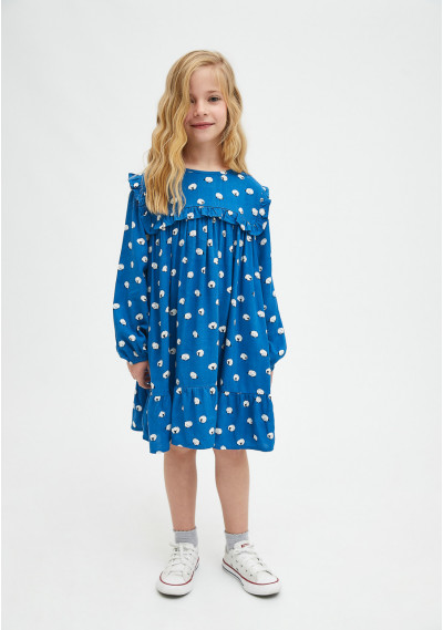 Sheep print girl's loose-fit dress -  Compañía Fantástica