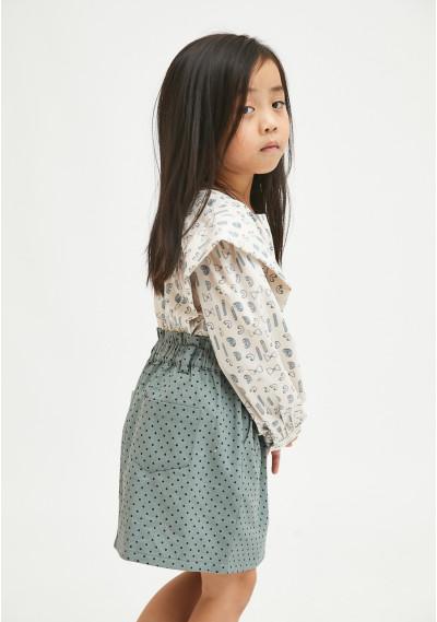 Grey polka dot print girl's paper bag skirt -  Compañía Fantástica