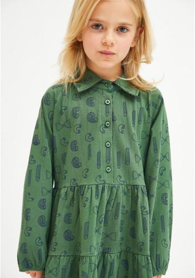 Geometric pasta print girl's smock dress -  Compañía Fantástica