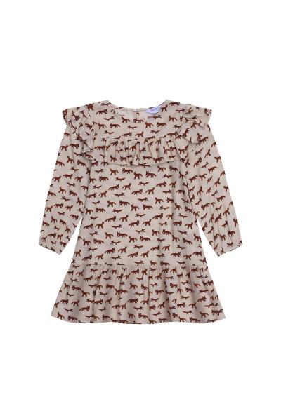 Fox print girl's smock dress -  Compañía Fantástica