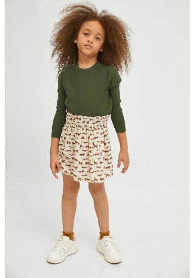 Fox print girl's flared mini skirt -  Compañía Fantástica