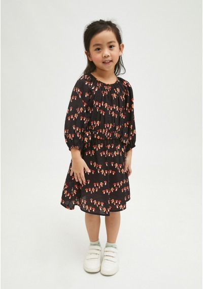 Toadstool print girl's dress with fitted waist -  Compañía Fantástica