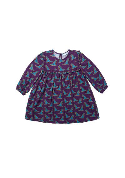 Dinosaur print girl's loose-fit dress -  Compañía Fantástica