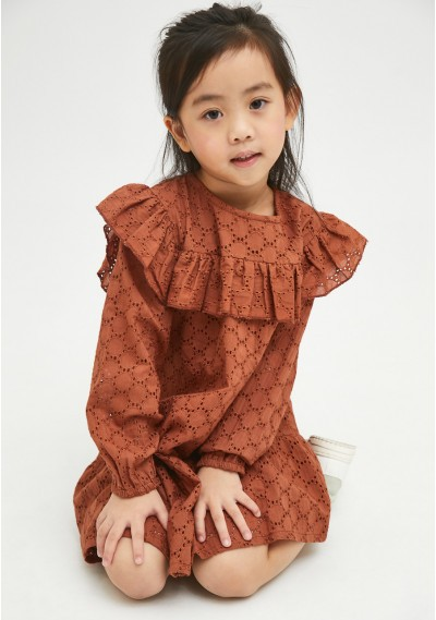 Brown broderie girl's smock...