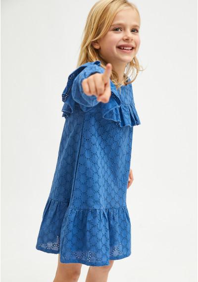 Blue broderie girl's smock dress -  Compañía Fantástica