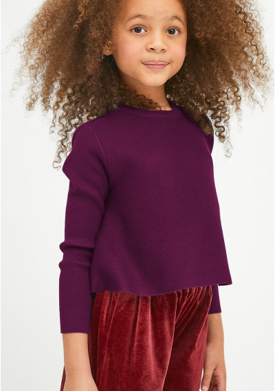 Purple girl's round-neck...