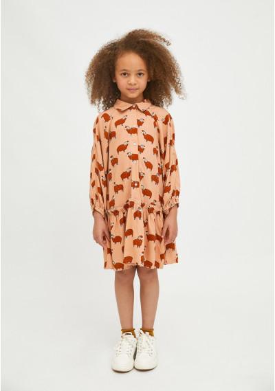 Ram print girl's shirt dress