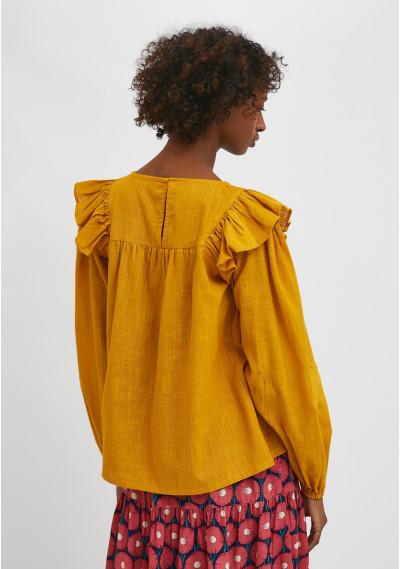 Mustard flared sheer blouse with ruffle detail -  Compañía Fantástica