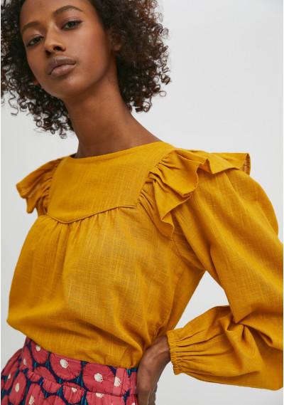 Mustard flared sheer blouse...