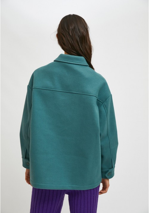 Green overshirt jacket with dropped shoulders and pockets - Compañía Fantástica