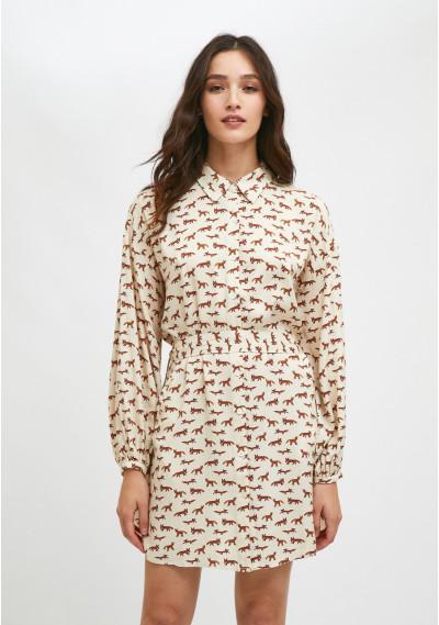 Vestido camisero corto con cinturón y animal print de zorros -  Compañía Fantástica