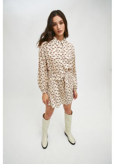 Fox print mini shirt dress...