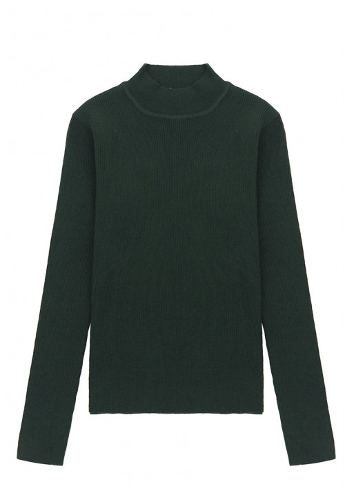 Green fitted ribbed knit jumper with high neck - Compañía Fantástica