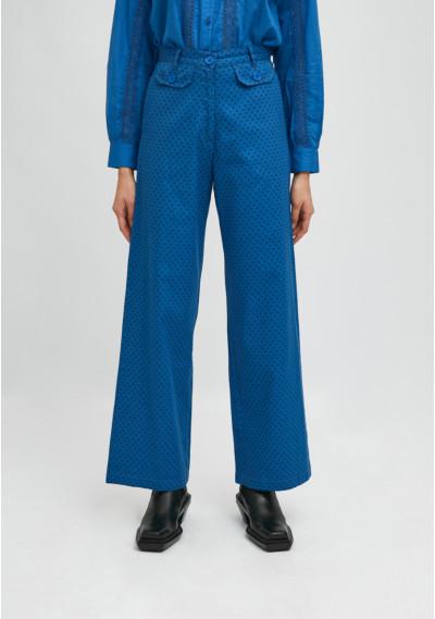 Blue polka dot print high-waisted straight-leg trousers -  Compañía Fantástica