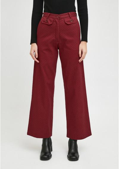 Burgundy polka dot print high-waisted straight-leg trousers -  Compañía Fantástica