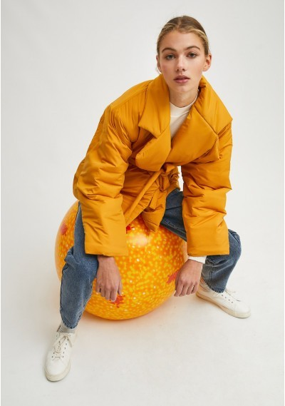 Mustard cropped padded coat...