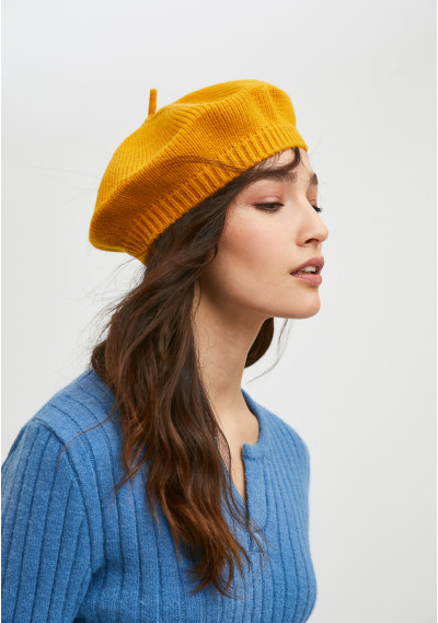 Yellow knit beret with...
