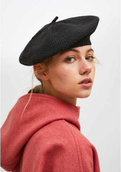 Black knit beret with...