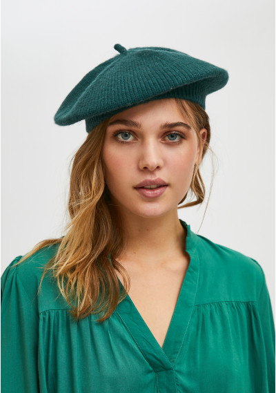 Green knit beret with...