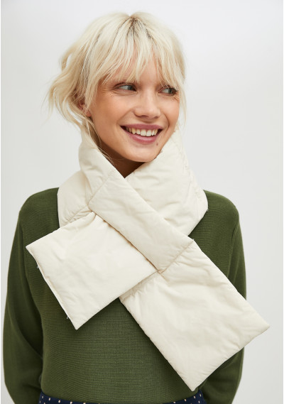 White padded scarf with...