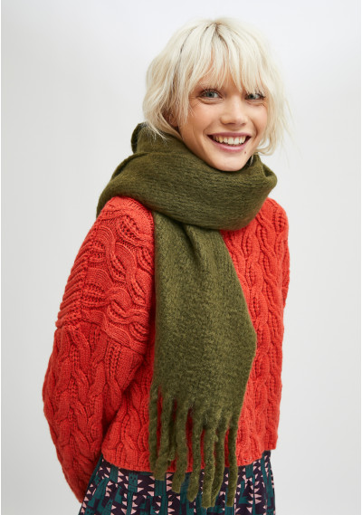 Green soft knitted scarf...