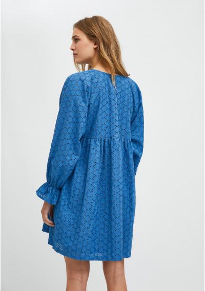 Blue broderie mini babydoll dress -  Compañía Fantástica