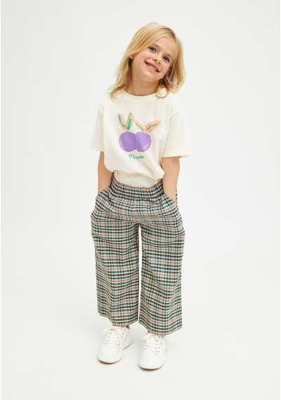 Girl's plum print top with...