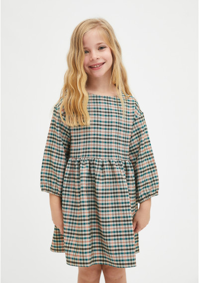 Girl's plum print mini dress with ruffles -  Compañía Fantástica