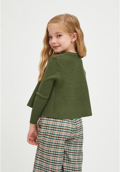 Girl's khaki round-neck flared-cut jumper -  Compañía Fantástica