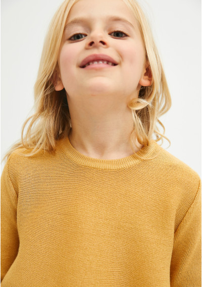 Girl's yellow round-neck flared-cut jumper -  Compañía Fantástica