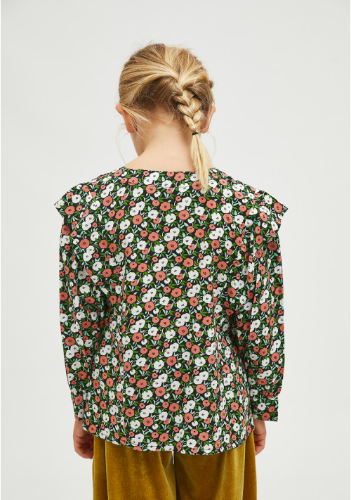 Girl's loose-fit top in two-tone flower print - Compañía Fantástica