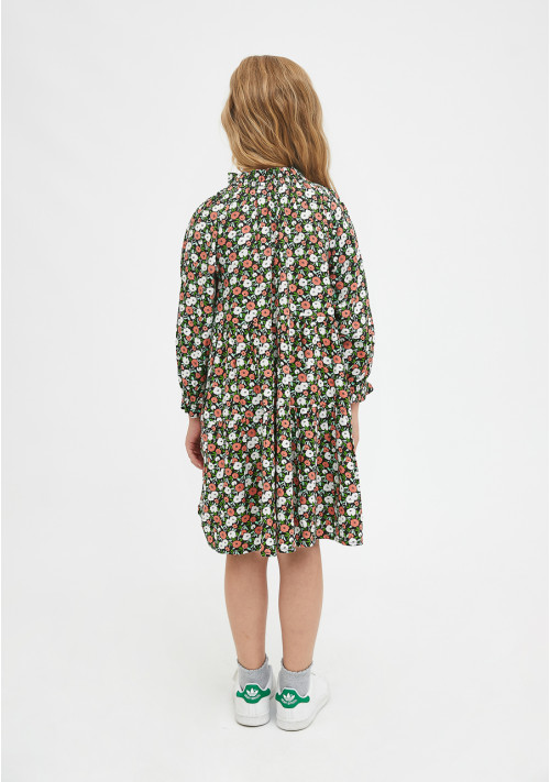 Girl's loose-fit dress in two-tone flower print - Compañía Fantástica