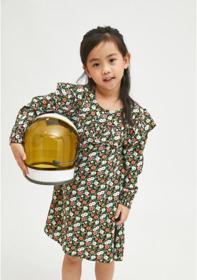 Girl's smock dress with two-tone flower print -  Compañía Fantástica