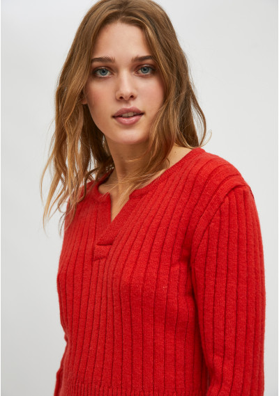 Red fitted knit sweater...