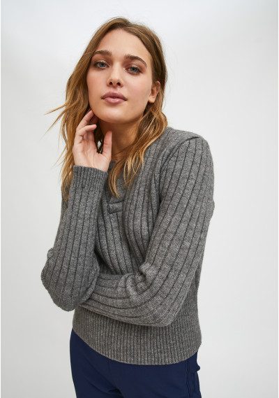 Grey fitted knit sweater...