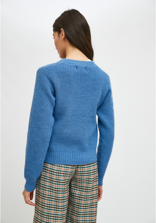 Knitted jacket with off-beat details in blue - Compañía Fantástica
