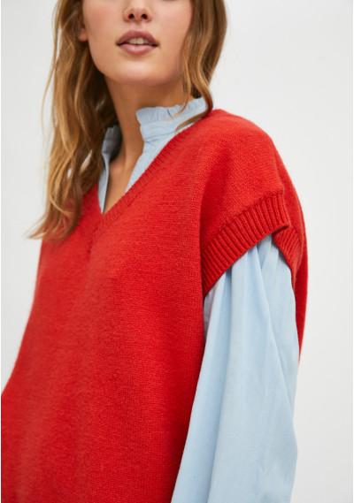 Knit v-neck vest with rib...