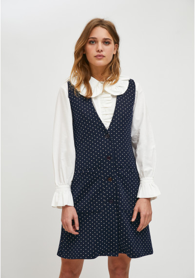 Pinafore style mini dress with micro polka dot print -  Compañía Fantástica