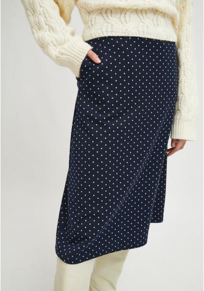Flared midi skirt with pockets and micro polka dot print -  Compañía Fantástica