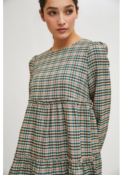 Mini smock dress with ruched details in check print -  Compañía Fantástica