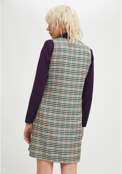 Pinafore style mini dress with check print -  Compañía Fantástica
